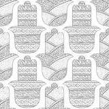 Main de Hamsa Modèle sans couture noir et blanc pour la page de coloration Amulette décorative pour la bonne chance et la prospér Image libre de droits