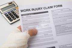 Formulaire de réclamation de blessure de travail Photos libres de droits