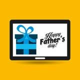Main de jour de pères de salutation tenant le smartphone Photos libres de droits