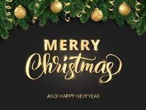Main de Joyeux Noël écrite le lettrage Fond de vacances d'hiver Frontière de fiesta avec des branches et des ornements d'arbre de illustration libre de droits