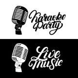 Main de karaoke écrite marquant avec des lettres le logo, emblème avec le rétro microphone de vintage Photos stock
