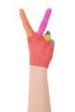 Main de l'aquarelle peinte par enfant Images libres de droits