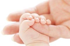 Main de l'enfant dans une main de mère Photos stock