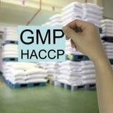 Main de l'homme d'affaires tenant une note de papier avec le GMP et le HACCP Photos libres de droits
