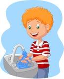 Main de lavage de garçon de bande dessinée illustration de vecteur