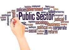 Main de nuage de mot de secteur public écrivant le concept images libres de droits