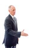 Main de offre d'homme d'affaires pour la prise de contact Images stock