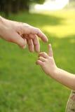 Main de parent et d'enfant en nature Photos stock