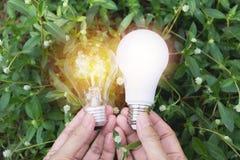 Main de personne tenant l'ampoule pour l'idée ou le succès ou l'e solaire Photo libre de droits