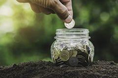 Main de personne tenant une pièce de monnaie mettant dans le pot en verre à l'arrière-plan de nature pour épargner l'argent pour  images libres de droits