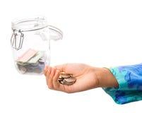 Main de petite fille avec l'argent III Photographie stock libre de droits