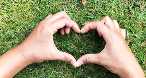 Main de plan rapproché en forme de coeur sur l'herbe verte pour le concept d'amour Photographie stock