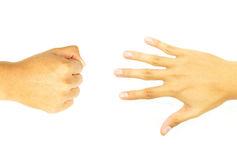Main de poing et main ouverte de côté opposé Photo libre de droits