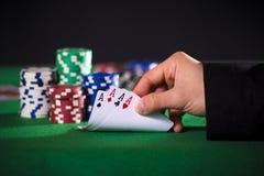 Main de poker avec des as Images libres de droits