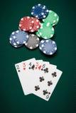 Main de poker directement Photos libres de droits