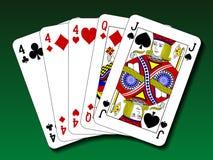 Main de poker - trois d'une sorte, voyages Photos libres de droits