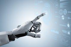Main de robot avec l'affichage graphique illustration stock
