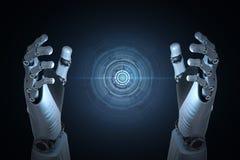 Main de robot avec l'affichage graphique illustration libre de droits