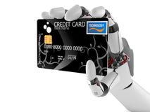 Main de robot avec la carte de crédit illustration stock