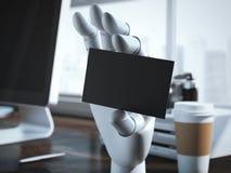 Main de robot avec la carte de visite professionnelle vierge de visite rendu 3d Photo libre de droits