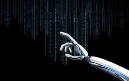 Main de robot avec le code binaire au-dessus du fond noir Photographie stock libre de droits