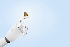 Main de robot avec un papillon là-dessus doigt du ` s illustration de vecteur