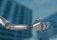 Main de robot d'Android ouverte avec le fond bleu illustration libre de droits