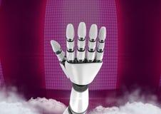 Main de robot d'Android ouverte avec le fond rose Image stock