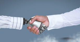 Main de robot d'Android serrant la main d'homme d'affaires avec le fond bleu Images stock