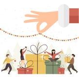 Main de Santa avec des cadeaux et des personnes de Noël illustration de vecteur