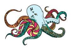 Main de schéma dessinant le poulpe noir sur le fond blanc a peint multicolore avec un contour noir Gribouillez le type illustration stock