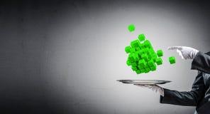 Main de serveur présentant des cubes sur le plateau Image stock