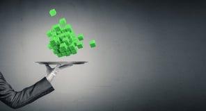 Main de serveur présentant des cubes sur le plateau Images libres de droits