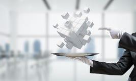 Main de serveur présentant des cubes sur le plateau Photo libre de droits