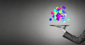 Main de serveur présentant des cubes sur le plateau Photos stock