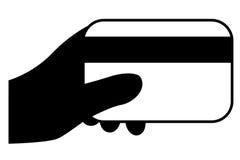 Main de silhouette - tenir le débit ou la carte de crédit illustration stock