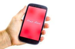 Main de smartphone d'amour de découverte Images stock