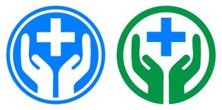 Main de soins médicaux plus le logo illustration stock