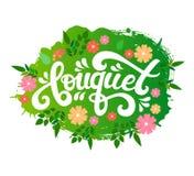 Main de vecteur écrite marquant avec des lettres le texte de bouquet Image stock