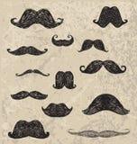 Main de vecteur dessinant la moustache différente de hippie illustration libre de droits