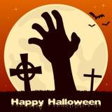 Main de zombi de Halloween et pleine lune Photos libres de droits