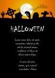 Main de zombi et fond de Halloween de cimetière Photos stock