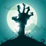 Main de zombi sur la pleine lune Photos libres de droits