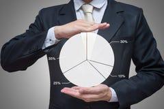 Main debout de posture d'homme d'affaires jugeant des finances de graphique d'isolement sur le fond gris Images libres de droits
