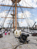 Main Deck and Forward Gun - HMS Warrior Stock Photography