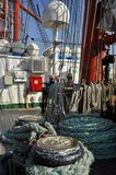 The main deck of the Sedov tall ship Royalty Free Stock Photos