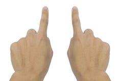 Main des affaires poussant un bouton sur un écran tactile Photo stock