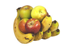 Main des bananes tenant cinq pommes mûres juteuses Photos libres de droits