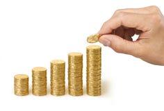 Main des dollars de cotisations de retraite d'affaires d'argent Photo stock