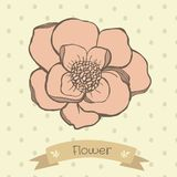 Main dessinant des fleurs de couleur en pastel au polkadot Illustration de Vecteur